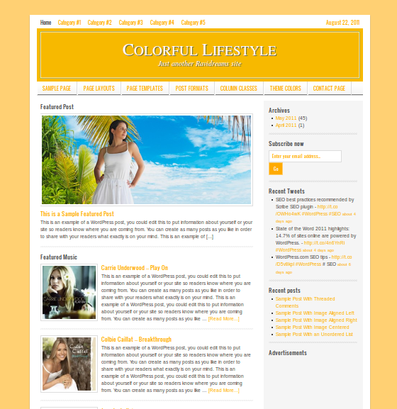 Golden color for LIfestyle WordPress child theme by StudioPress